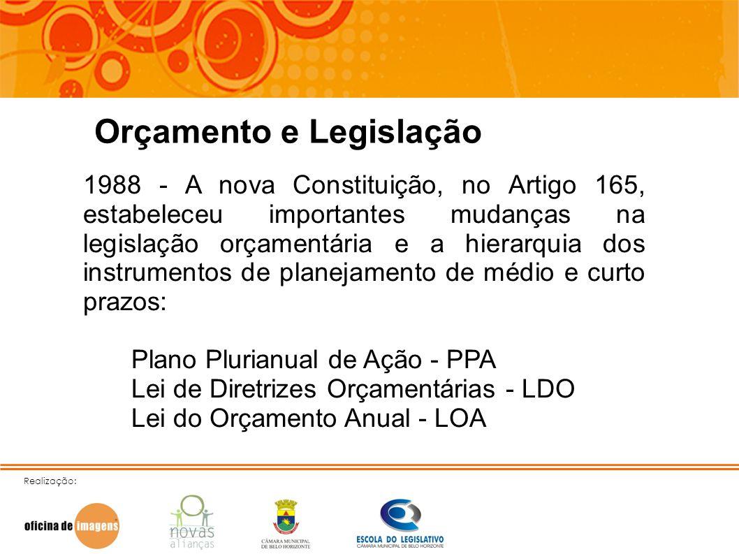 Realização: Orçamento e Legislação 1988 - A nova Constituição, no Artigo 165, estabeleceu importantes mudanças na legislação orçamentária e a hierarqu