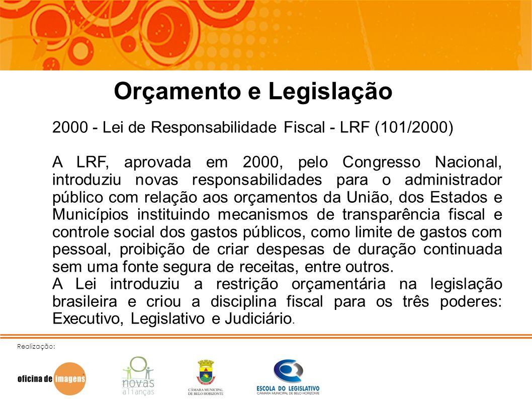 Realização: Orçamento e Legislação 2000 - Lei de Responsabilidade Fiscal - LRF (101/2000) A LRF, aprovada em 2000, pelo Congresso Nacional, introduziu