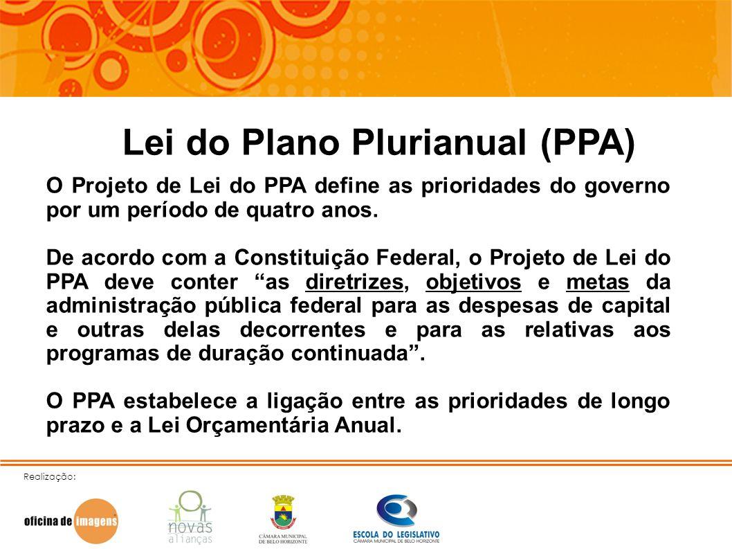 Realização: Lei do Plano Plurianual (PPA) O Projeto de Lei do PPA define as prioridades do governo por um período de quatro anos. De acordo com a Cons