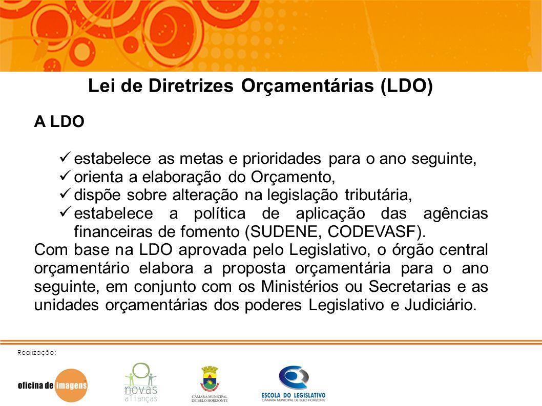 Realização: Lei de Diretrizes Orçamentárias (LDO) A LDO estabelece as metas e prioridades para o ano seguinte, orienta a elaboração do Orçamento, disp
