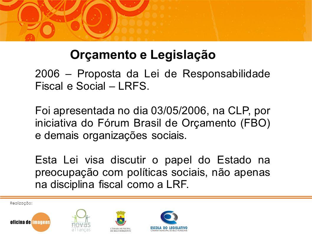 Realização: Orçamento e Legislação 2006 – Proposta da Lei de Responsabilidade Fiscal e Social – LRFS. Foi apresentada no dia 03/05/2006, na CLP, por i