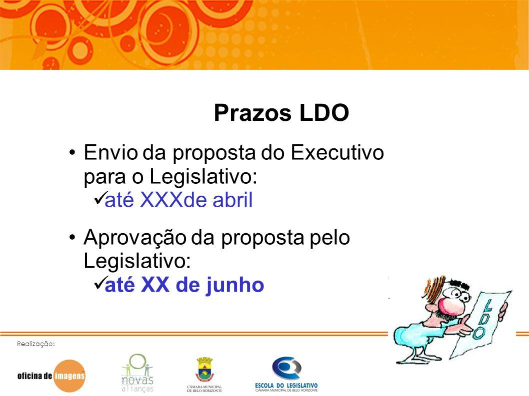 Realização: Prazos LDO Envio da proposta do Executivo para o Legislativo: até XXXde abril Aprovação da proposta pelo Legislativo: até XX de junho