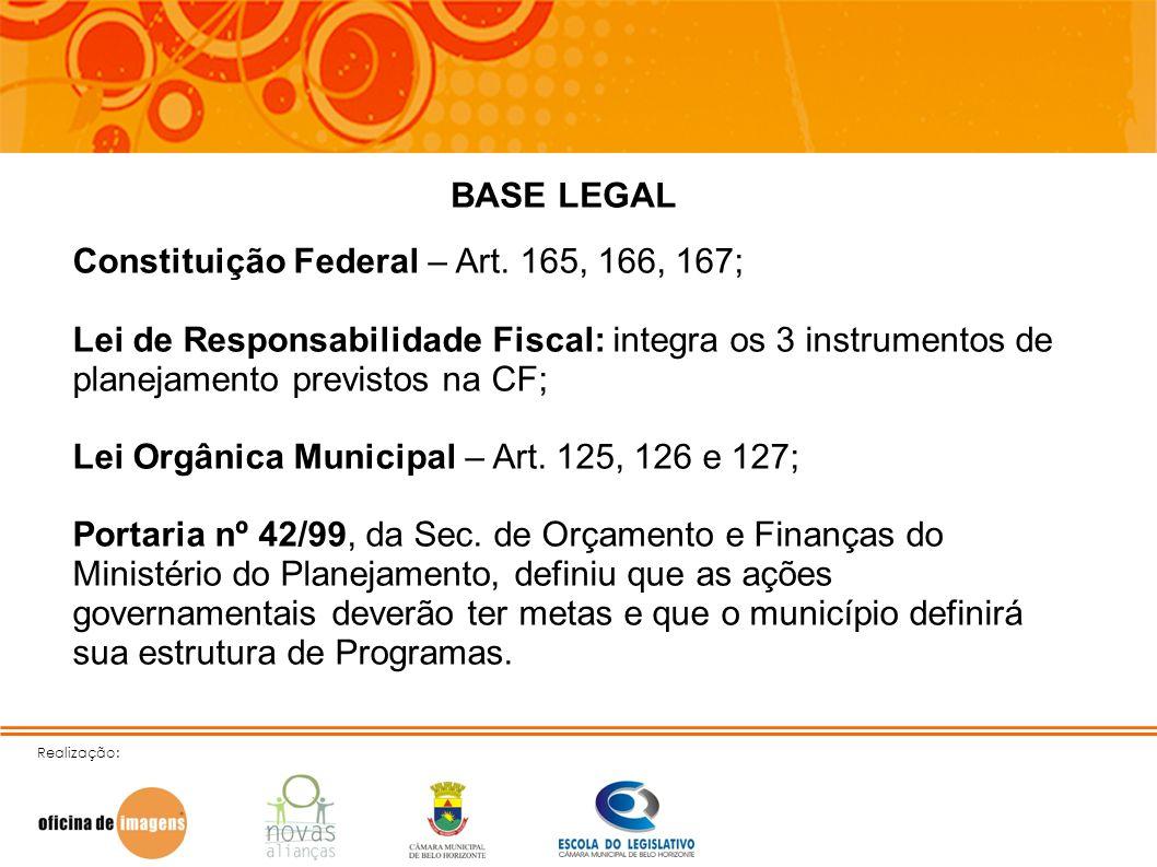 Realização: BASE LEGAL Constituição Federal – Art. 165, 166, 167; Lei de Responsabilidade Fiscal: integra os 3 instrumentos de planejamento previstos