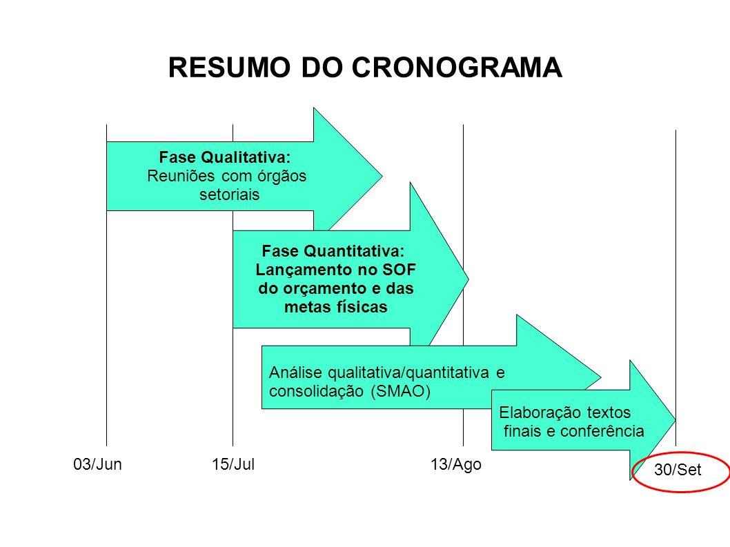 RESUMO DO CRONOGRAMA 03/Jun Fase Qualitativa: Reuniões com órgãos setoriais 13/Ago Fase Quantitativa: Lançamento no SOF do orçamento e das metas físic