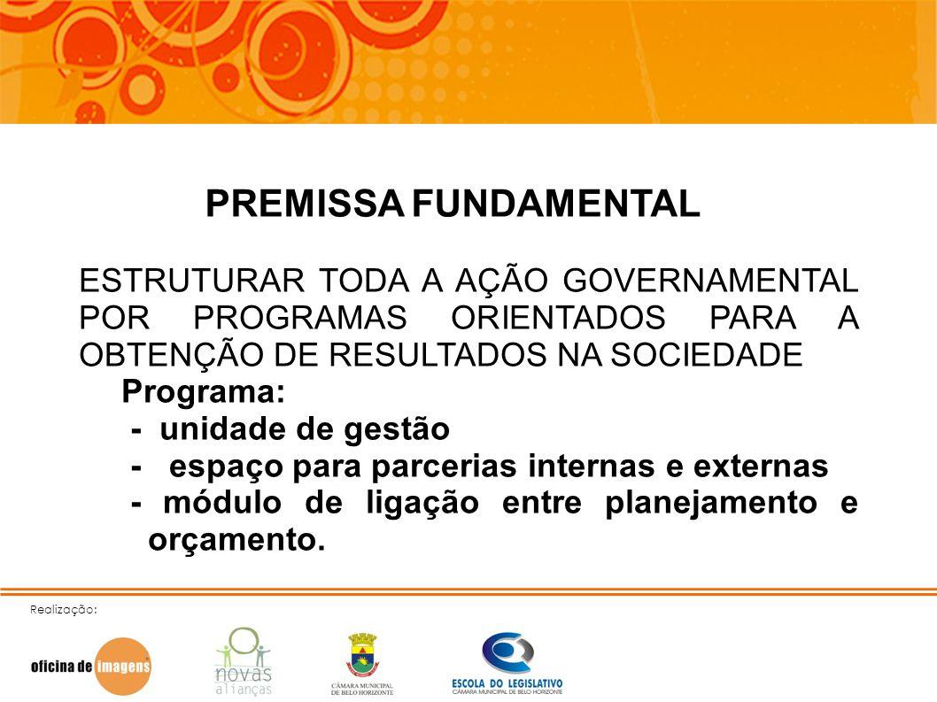 Realização: PREMISSA FUNDAMENTAL ESTRUTURAR TODA A AÇÃO GOVERNAMENTAL POR PROGRAMAS ORIENTADOS PARA A OBTENÇÃO DE RESULTADOS NA SOCIEDADE Programa: -