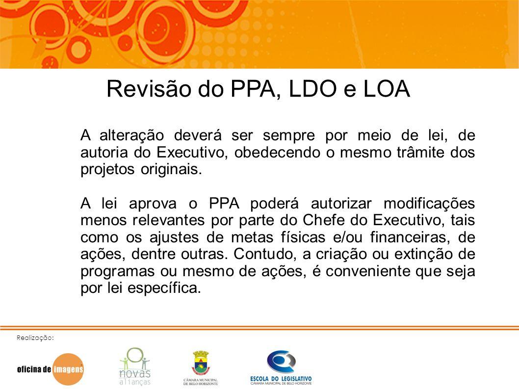Realização: Revisão do PPA, LDO e LOA A alteração deverá ser sempre por meio de lei, de autoria do Executivo, obedecendo o mesmo trâmite dos projetos