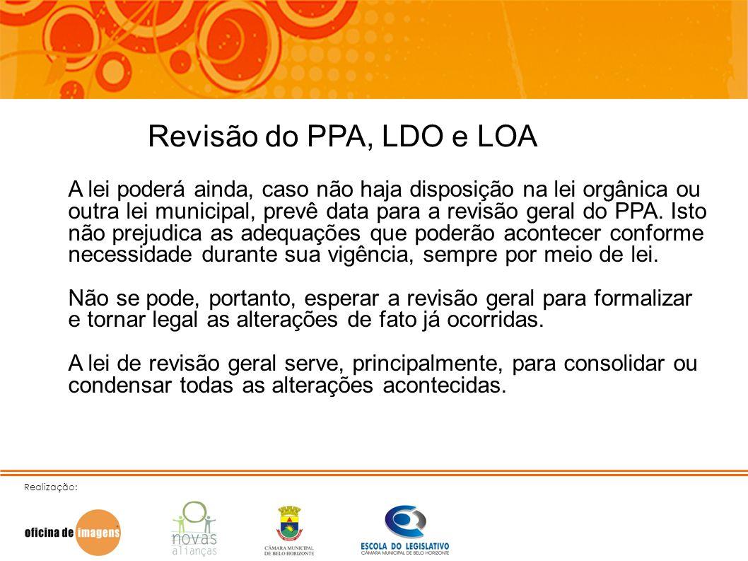 Realização: Revisão do PPA, LDO e LOA A lei poderá ainda, caso não haja disposição na lei orgânica ou outra lei municipal, prevê data para a revisão g