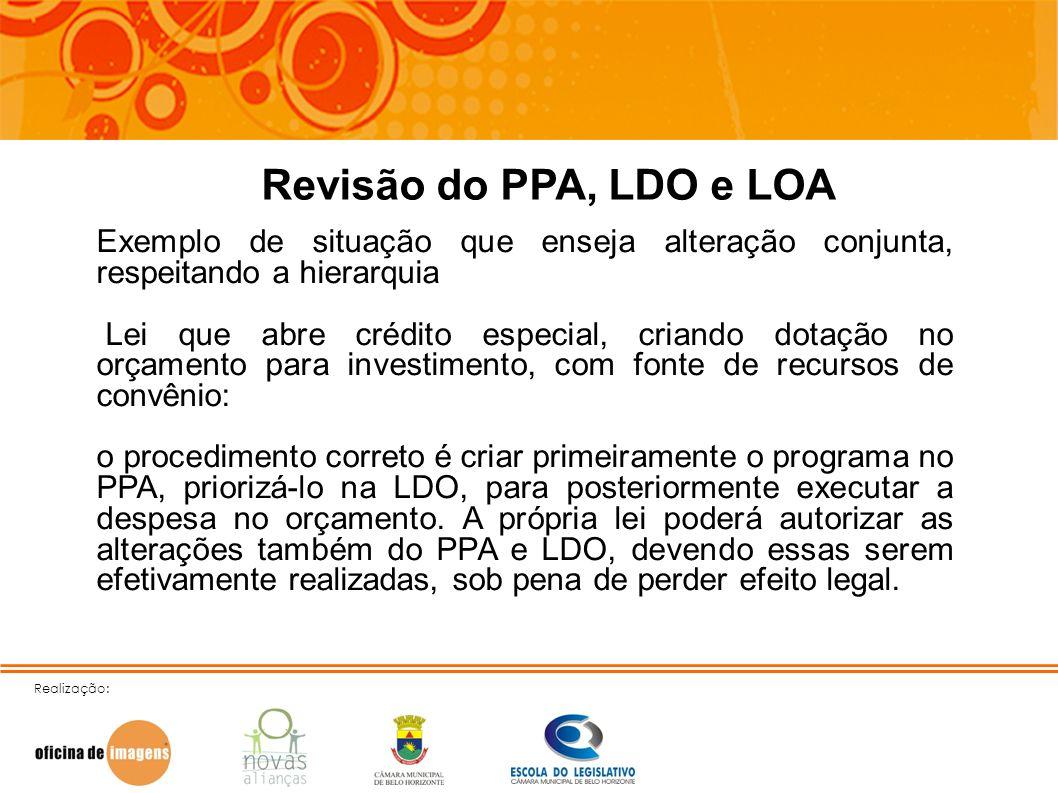 Realização: Revisão do PPA, LDO e LOA Exemplo de situação que enseja alteração conjunta, respeitando a hierarquia Lei que abre crédito especial, crian