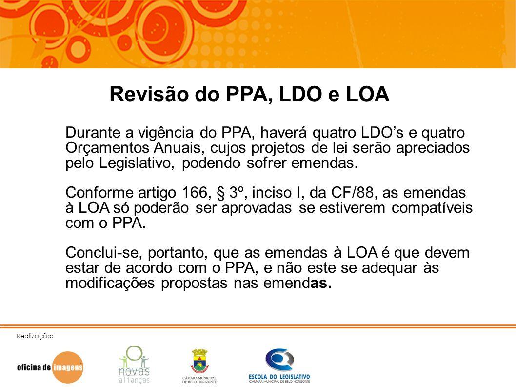 Realização: Revisão do PPA, LDO e LOA Durante a vigência do PPA, haverá quatro LDOs e quatro Orçamentos Anuais, cujos projetos de lei serão apreciados