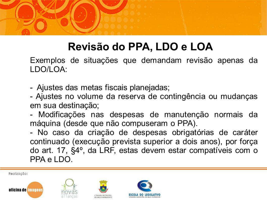Realização: Revisão do PPA, LDO e LOA Exemplos de situações que demandam revisão apenas da LDO/LOA: - Ajustes das metas fiscais planejadas; - Ajustes
