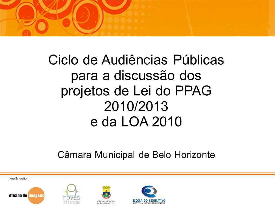 Realização: Ciclo de Audiências Públicas para a discussão dos projetos de Lei do PPAG 2010/2013 e da LOA 2010 Câmara Municipal de Belo Horizonte