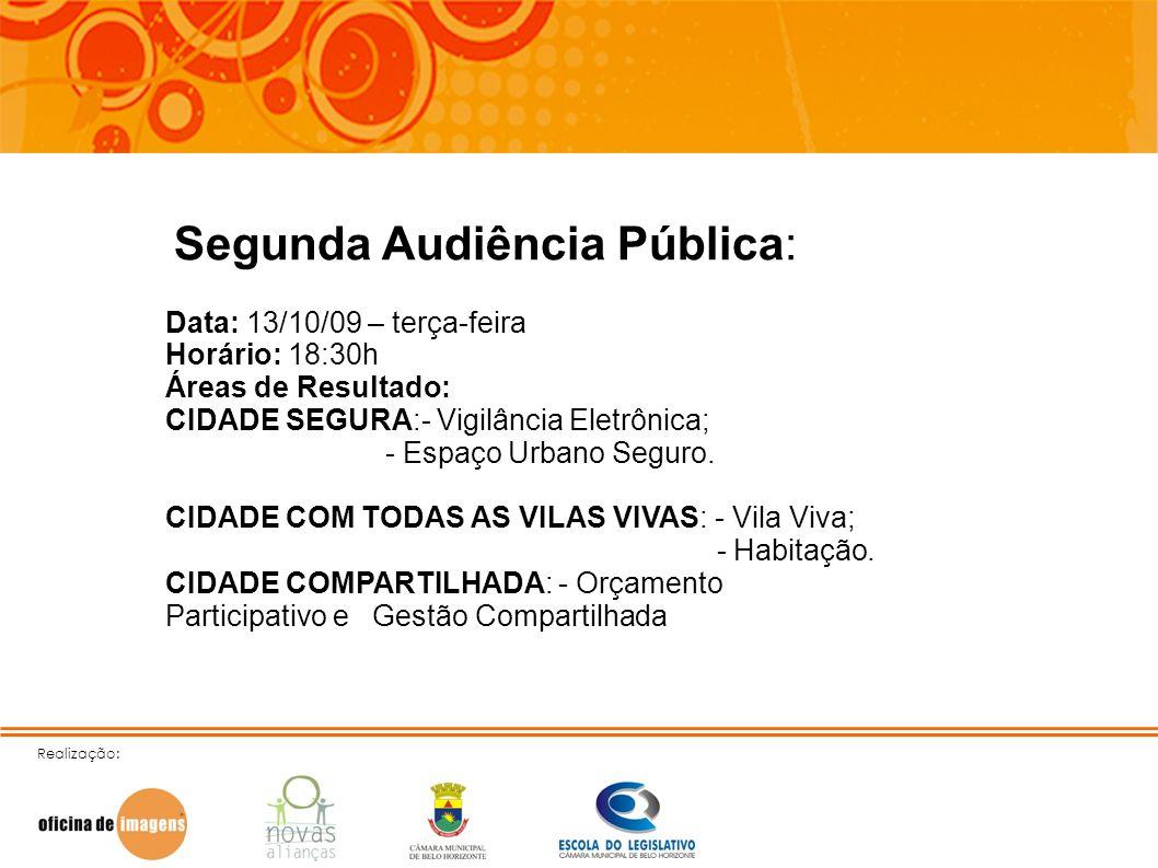 Realização: Segunda Audiência Pública: Data: 13/10/09 – terça-feira Horário: 18:30h Áreas de Resultado: CIDADE SEGURA:- Vigilância Eletrônica; - Espaç