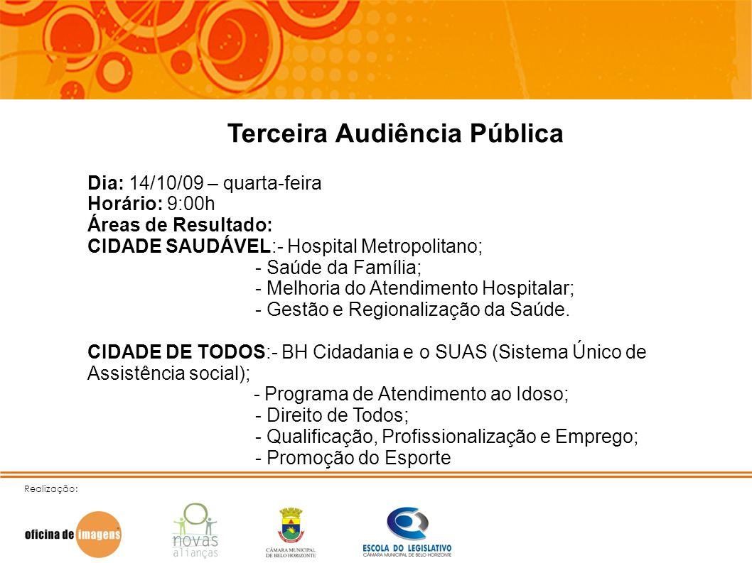 Realização: Terceira Audiência Pública Dia: 14/10/09 – quarta-feira Horário: 9:00h Áreas de Resultado: CIDADE SAUDÁVEL:- Hospital Metropolitano; - Saú