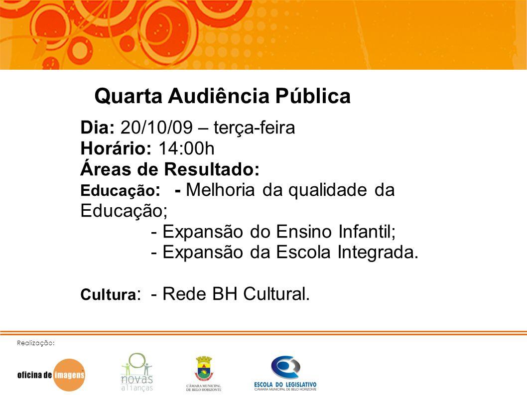 Realização: Quarta Audiência Pública Dia: 20/10/09 – terça-feira Horário: 14:00h Áreas de Resultado: Educação : - Melhoria da qualidade da Educação; -