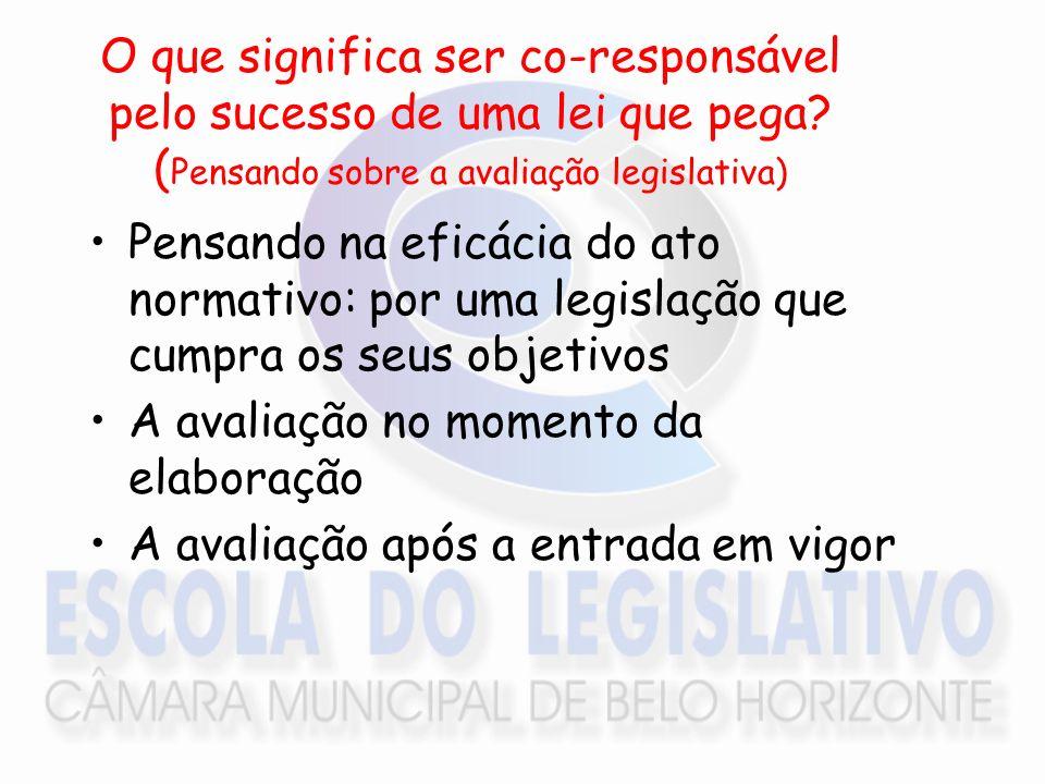 O que significa ser co-responsável pelo sucesso de uma lei que pega? ( Pensando sobre a avaliação legislativa) Pensando na eficácia do ato normativo: