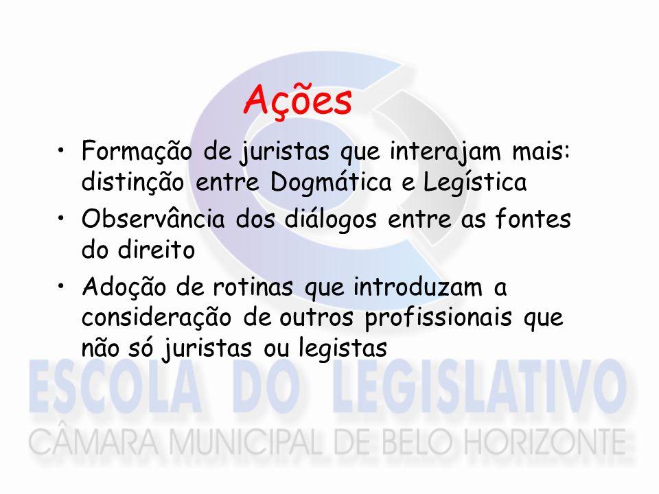 Ações Formação de juristas que interajam mais: distinção entre Dogmática e Legística Observância dos diálogos entre as fontes do direito Adoção de rot