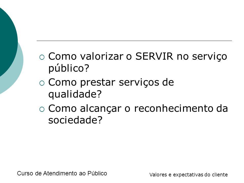 Curso de Atendimento ao Público Valores e expectativas do cliente Como valorizar o SERVIR no serviço público? Como prestar serviços de qualidade? Como