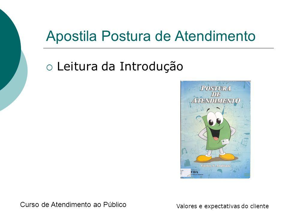 Curso de Atendimento ao Público Valores e expectativas do cliente Apostila Postura de Atendimento Leitura da Introdução