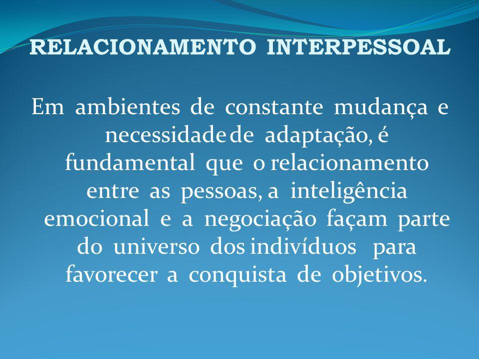 RELACIONAMENTO INTERPESSOAL As relações interpessoais desenvolvem-se em decorrência do processo de interação.