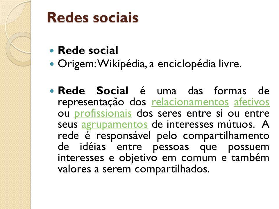 Redes sociais Rede social Origem: Wikipédia, a enciclopédia livre. Rede Social é uma das formas de representação dos relacionamentos afetivos ou profi