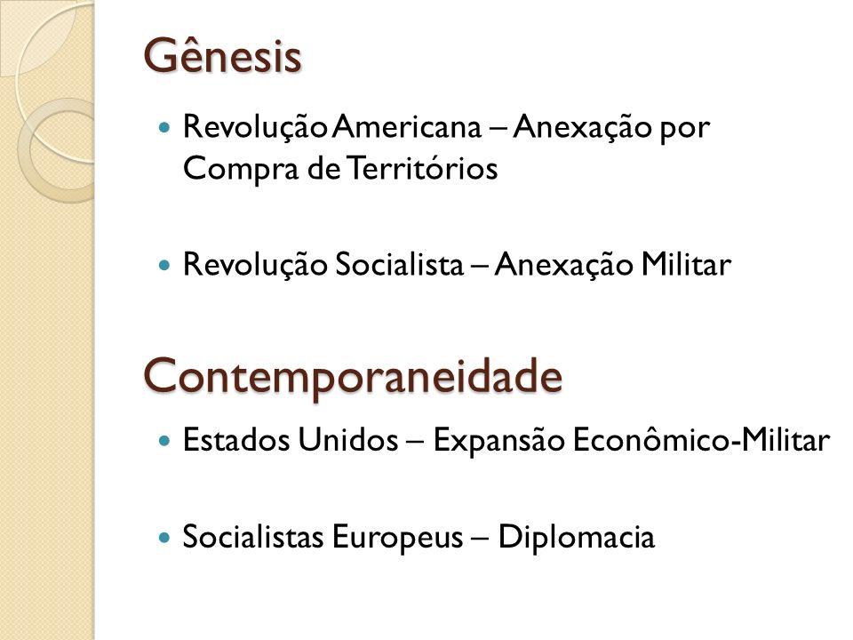 Gênesis Revolução Americana – Anexação por Compra de Territórios Revolução Socialista – Anexação Militar Contemporaneidade Estados Unidos – Expansão E