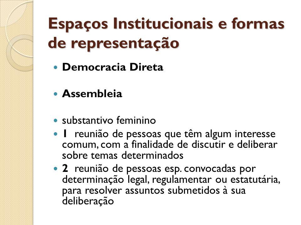 Espaços Institucionais e formas de representação Democracia Direta Assembleia substantivo feminino 1 reunião de pessoas que têm algum interesse comum,