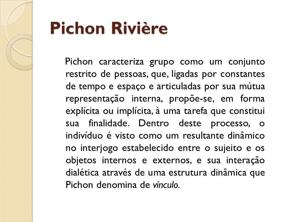 Pichon Rivière Pichon caracteriza grupo como um conjunto restrito de pessoas, que, ligadas por constantes de tempo e espaço e articuladas por sua mútu