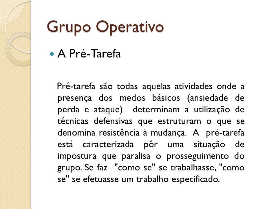 Grupo Operativo A Pré-Tarefa Pré-tarefa são todas aquelas atividades onde a presença dos medos básicos (ansiedade de perda e ataque) determinam a util