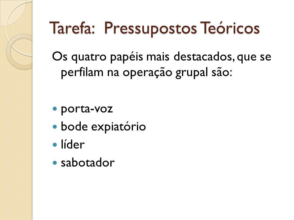 Tarefa: Pressupostos Teóricos Os quatro papéis mais destacados, que se perfilam na operação grupal são: porta-voz bode expiatório líder sabotador