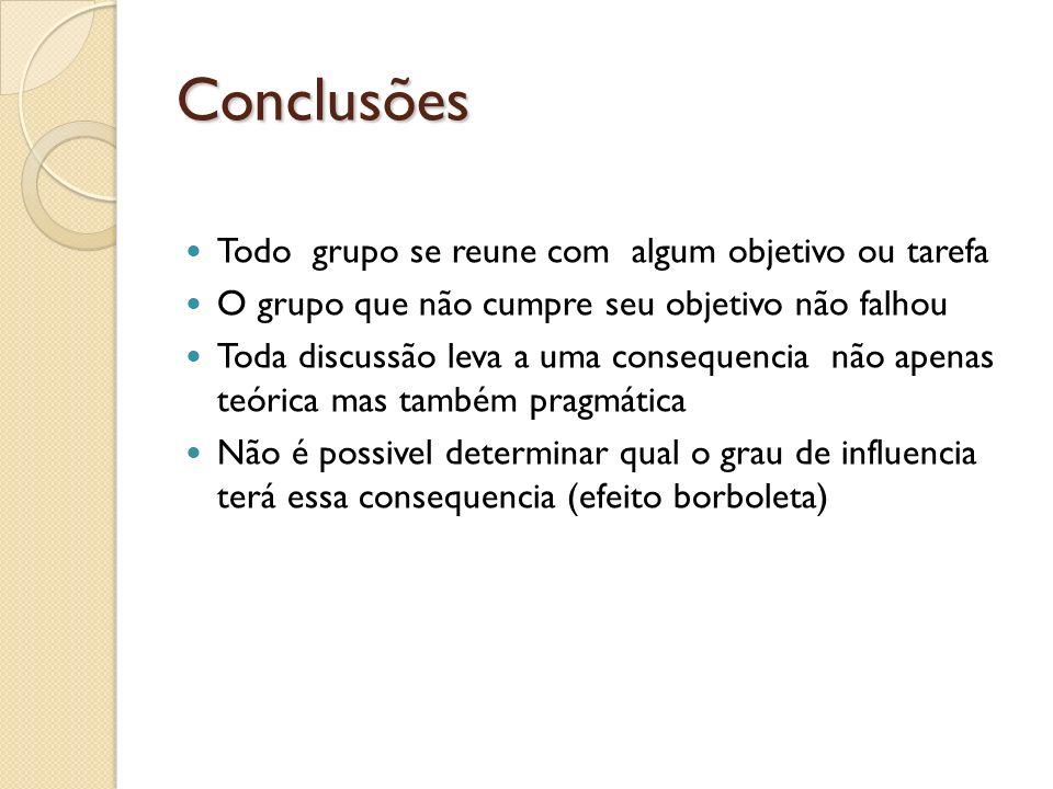Conclusões Todo grupo se reune com algum objetivo ou tarefa O grupo que não cumpre seu objetivo não falhou Toda discussão leva a uma consequencia não