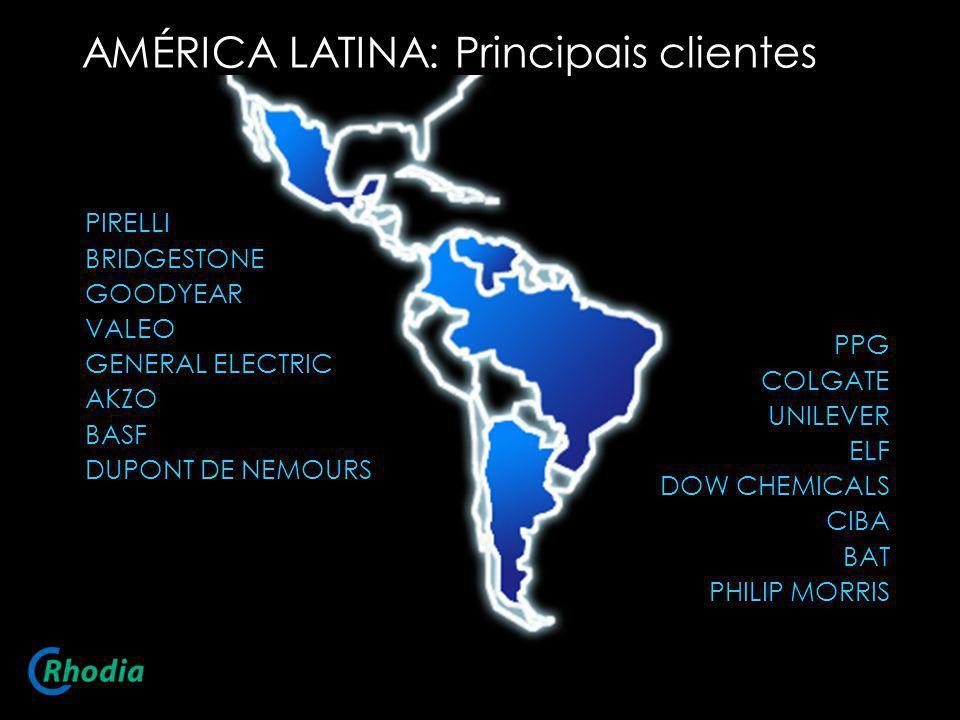 AMÉRICA LATINA: Principais clientes PPG COLGATE UNILEVER ELF DOW CHEMICALS CIBA BAT PHILIP MORRIS PIRELLI BRIDGESTONE GOODYEAR VALEO GENERAL ELECTRIC