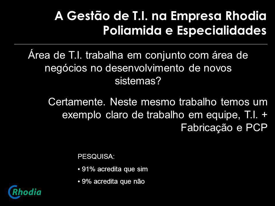 A Gestão de T.I. na Empresa Rhodia Poliamida e Especialidades Área de T.I. trabalha em conjunto com área de negócios no desenvolvimento de novos siste
