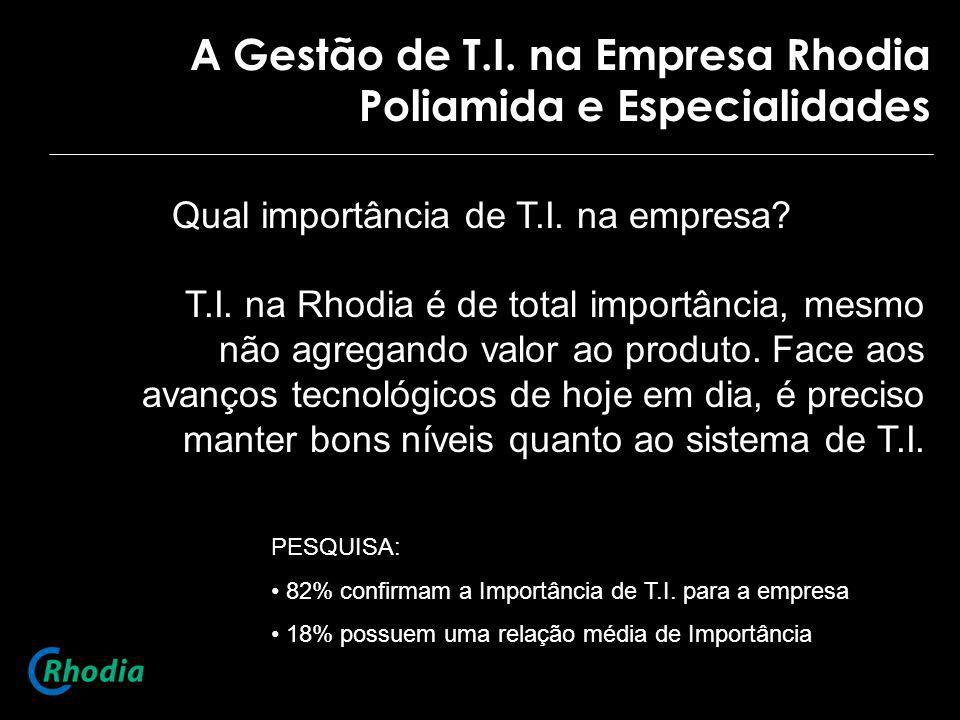 A Gestão de T.I. na Empresa Rhodia Poliamida e Especialidades Qual importância de T.I. na empresa? T.I. na Rhodia é de total importância, mesmo não ag