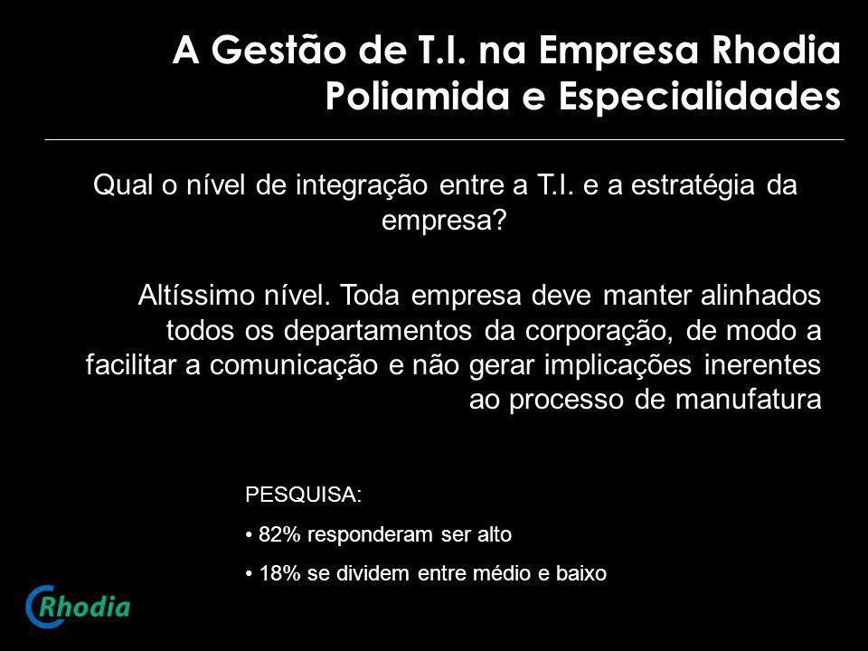 A Gestão de T.I. na Empresa Rhodia Poliamida e Especialidades Qual o nível de integração entre a T.I. e a estratégia da empresa? Altíssimo nível. Toda