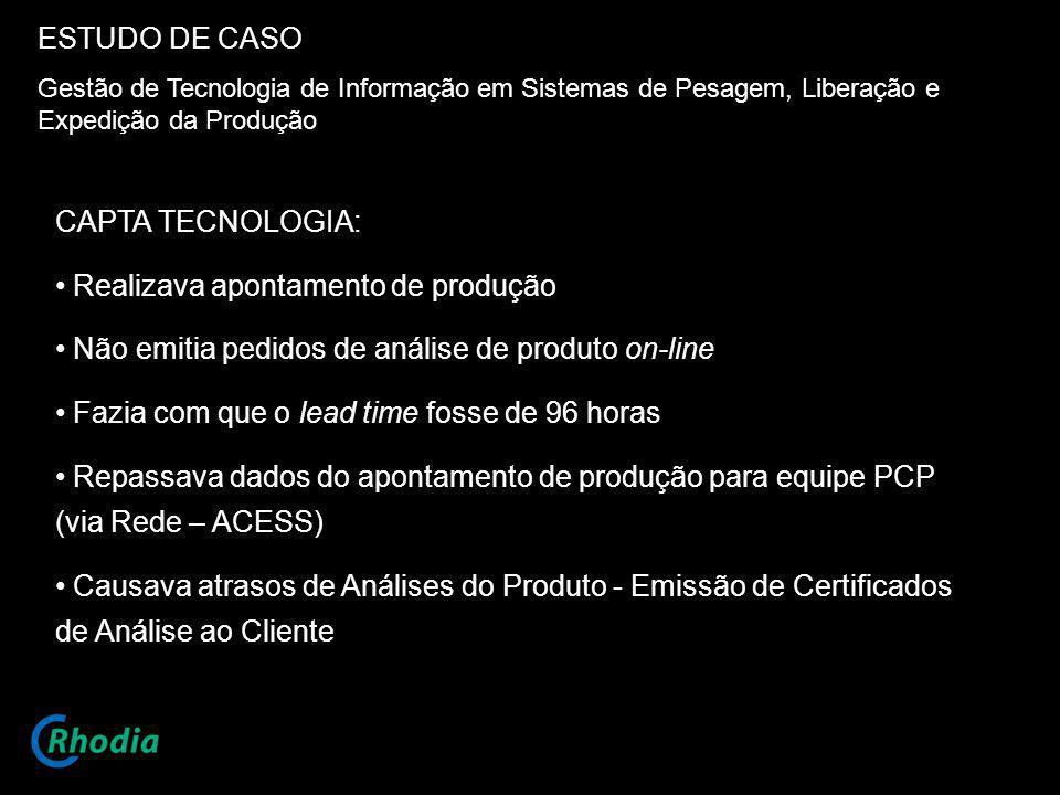 ESTUDO DE CASO Gestão de Tecnologia de Informação em Sistemas de Pesagem, Liberação e Expedição da Produção CAPTA TECNOLOGIA: Realizava apontamento de
