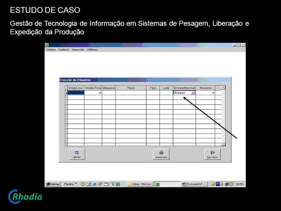 ESTUDO DE CASO Gestão de Tecnologia de Informação em Sistemas de Pesagem, Liberação e Expedição da Produção