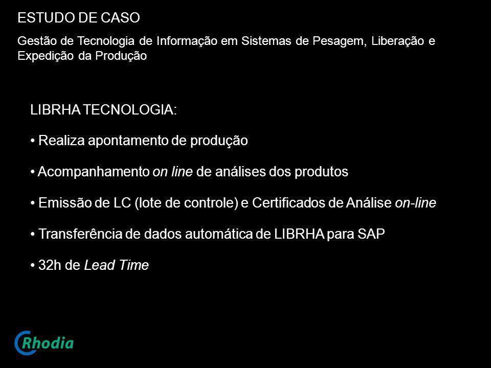 ESTUDO DE CASO Gestão de Tecnologia de Informação em Sistemas de Pesagem, Liberação e Expedição da Produção LIBRHA TECNOLOGIA: Realiza apontamento de