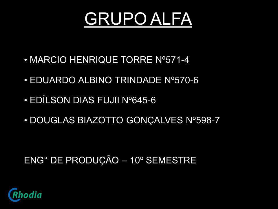 GRUPO ALFA MARCIO HENRIQUE TORRE Nº571-4 EDUARDO ALBINO TRINDADE Nº570-6 EDÍLSON DIAS FUJII Nº645-6 DOUGLAS BIAZOTTO GONÇALVES Nº598-7 ENG° DE PRODUÇÃ