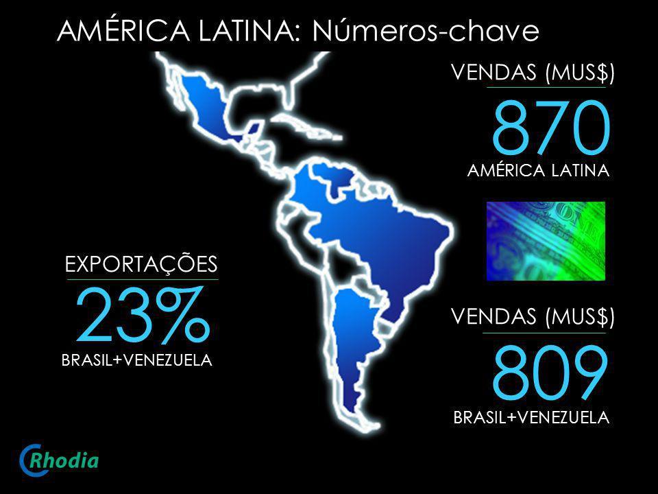AMÉRICA LATINA: Números-chave 870 AMÉRICA LATINA VENDAS (MUS$) EXPORTAÇÕES 23% BRASIL+VENEZUELA 809 BRASIL+VENEZUELA VENDAS (MUS$)