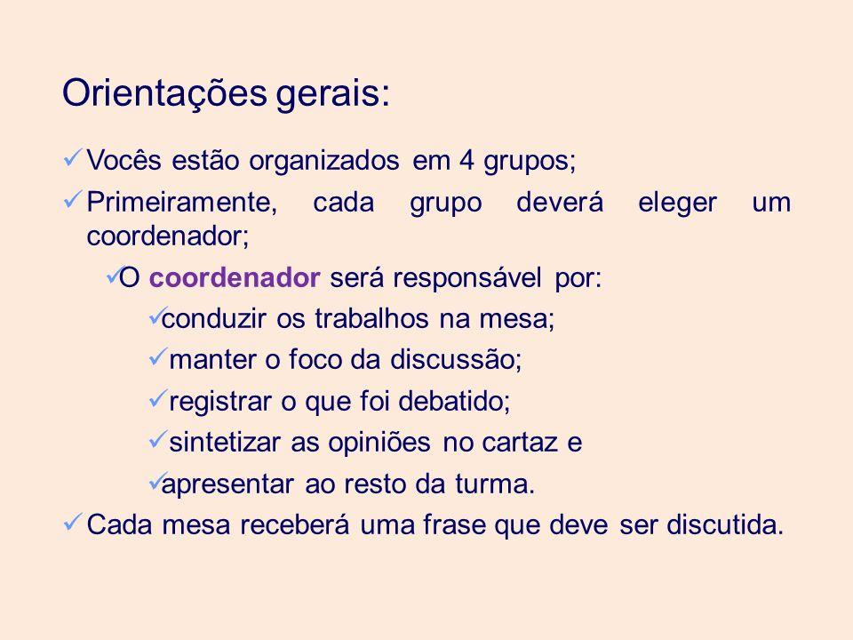 Orientações gerais: Vocês estão organizados em 4 grupos; Primeiramente, cada grupo deverá eleger um coordenador; O coordenador será responsável por: c