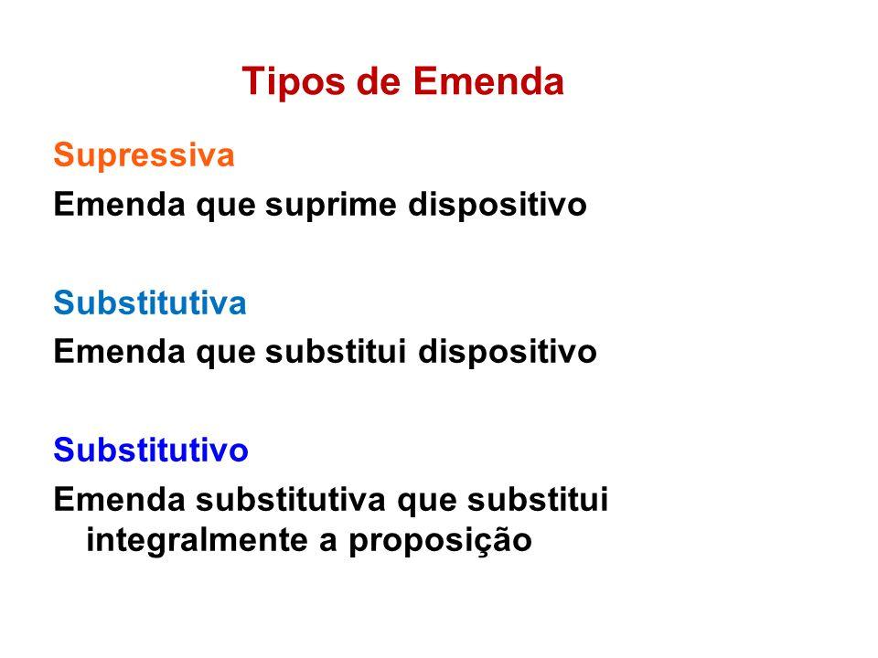 Tipos de Emenda Supressiva Emenda que suprime dispositivo Substitutiva Emenda que substitui dispositivo Substitutivo Emenda substitutiva que substitui