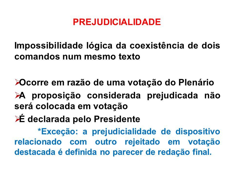 PREJUDICIALIDADE Impossibilidade lógica da coexistência de dois comandos num mesmo texto Ocorre em razão de uma votação do Plenário A proposição consi