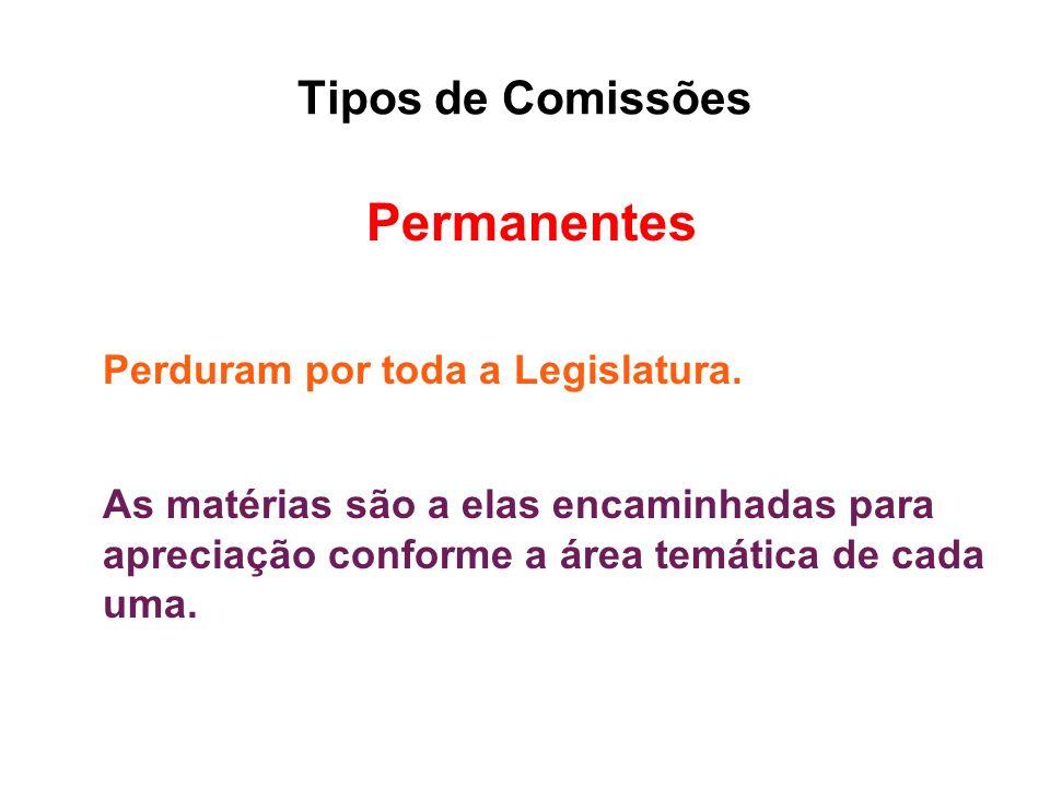 Tipos de Comissões Permanentes Perduram por toda a Legislatura. As matérias são a elas encaminhadas para apreciação conforme a área temática de cada u