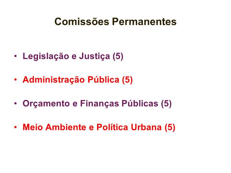 Comissões Permanentes Legislação e Justiça (5) Administração Pública (5) Orçamento e Finanças Públicas (5) Meio Ambiente e Política Urbana (5)