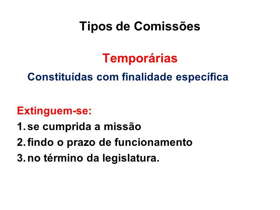 Tipos de Comissões Temporárias Constituídas com finalidade específica Extinguem-se: 1.se cumprida a missão 2.findo o prazo de funcionamento 3.no térmi