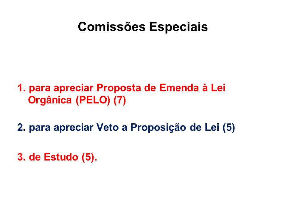 Comissões Especiais 1. para apreciar Proposta de Emenda à Lei Orgânica (PELO) (7) 2. para apreciar Veto a Proposição de Lei (5) 3. de Estudo (5).