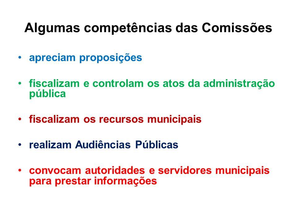 Algumas competências das Comissões apreciam proposições fiscalizam e controlam os atos da administração pública fiscalizam os recursos municipais real