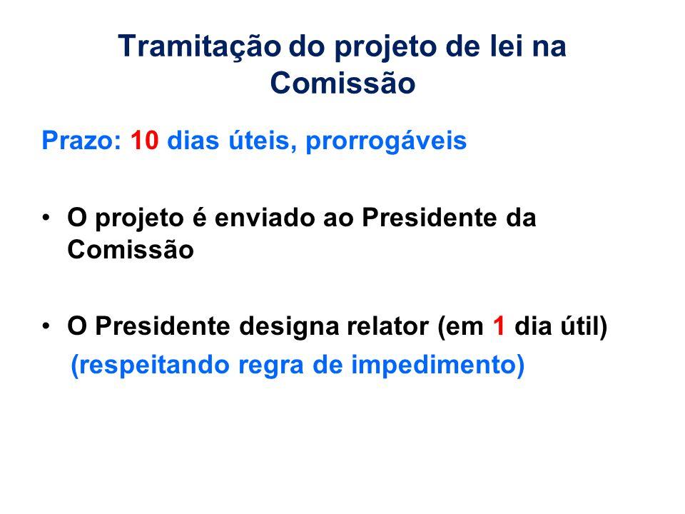 Tramitação do projeto de lei na Comissão Prazo: 10 dias úteis, prorrogáveis O projeto é enviado ao Presidente da Comissão O Presidente designa relator