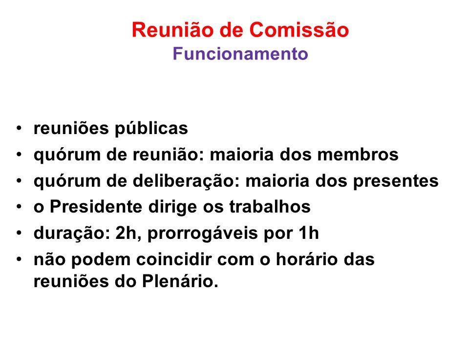 Reunião de Comissão Funcionamento reuniões públicas quórum de reunião: maioria dos membros quórum de deliberação: maioria dos presentes o Presidente d