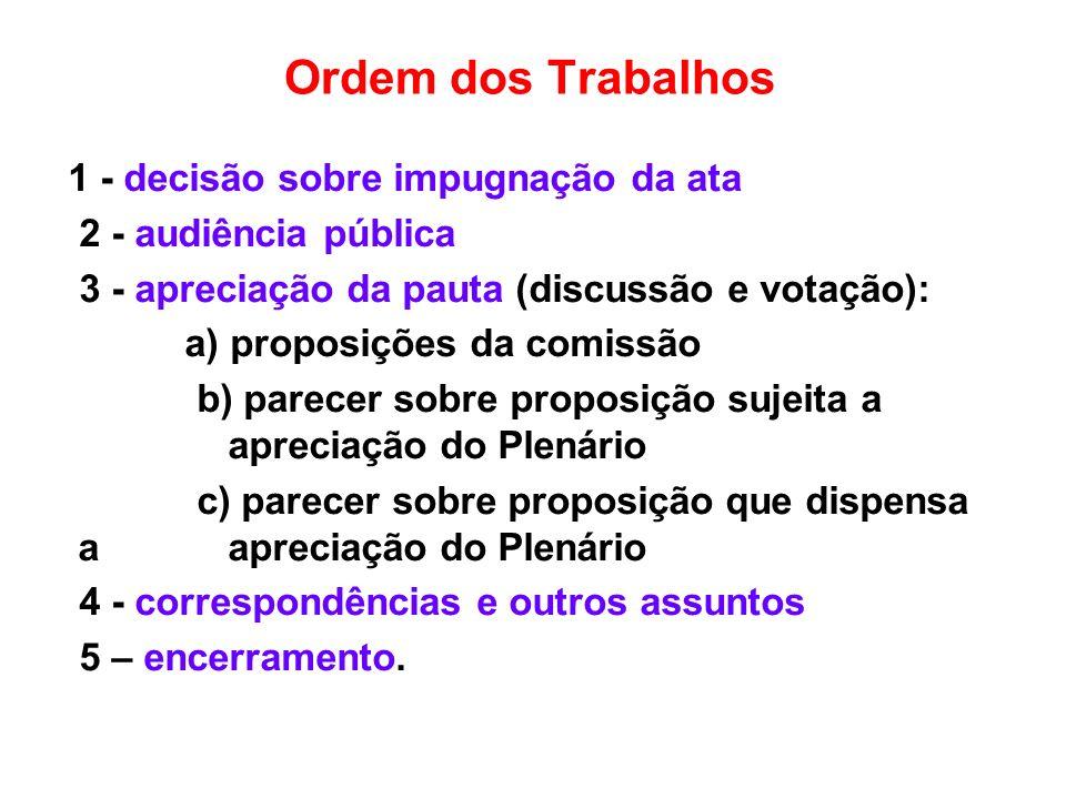 Ordem dos Trabalhos 1 - decisão sobre impugnação da ata 2 - audiência pública 3 - apreciação da pauta (discussão e votação): a) proposições da comissã